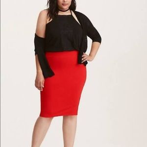 NWT Red Ponte Midi Pencil Skirt Size 1 or 14/16